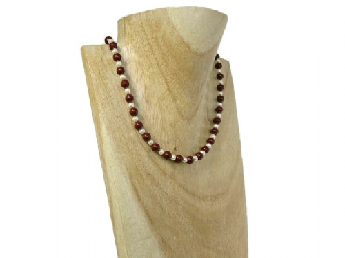 Elegant Wedding Necklace With Burgundy Red & Ivory Cream Swarovski Pearls